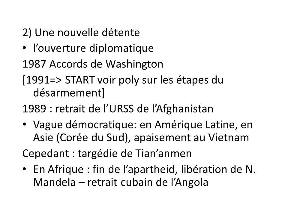 2) Une nouvelle détente l'ouverture diplomatique. 1987 Accords de Washington. [1991=> START voir poly sur les étapes du désarmement]